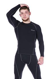 Рашгард мужской черный с серой строчкой Totalfit RM4-Y79 4XL Черный, Серый