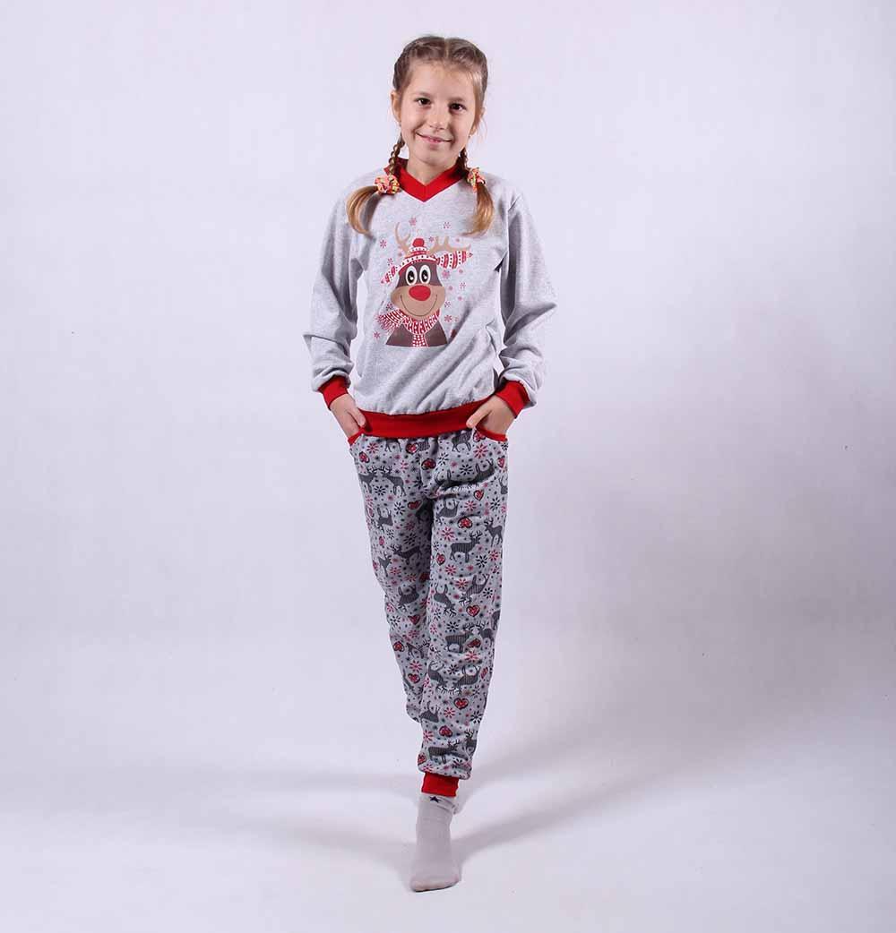 """Подростковая теплая пижама """"Олени-new"""" р.36-40"""