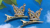 Заколка - зажим Корона в стразах 3 см, цвет золото
