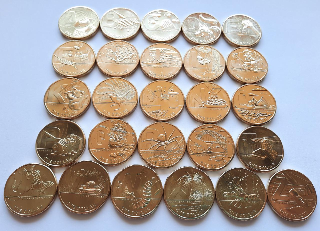 Австралія набір монет Англійський алфавіт 26 монет по 1 $ 2021
