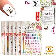Nail Art ЗD наклейки -стикеры для дизайна ногтей на липкой основе  цветные ( бренды )