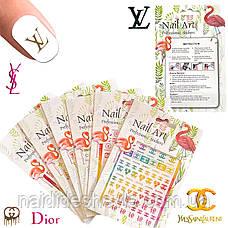 Nail Art ЗD наклейки -стікери для дизайну нігтів на липкій основі кольорові ( бренди ), фото 2
