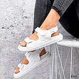 Женские босоножки Chanel из натуральной кожи на липучках белые бежевые, фото 6
