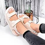 Женские босоножки Chanel из натуральной кожи на липучках белые бежевые, фото 4