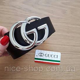 Ремінь G u c c i чорний з срібним глянцевою пряжкою 3,8 см