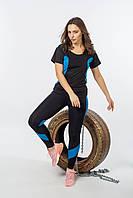 Фитнес комплект START черный с голубой вставкой р. 44, 46, 48, 50, 52, 54