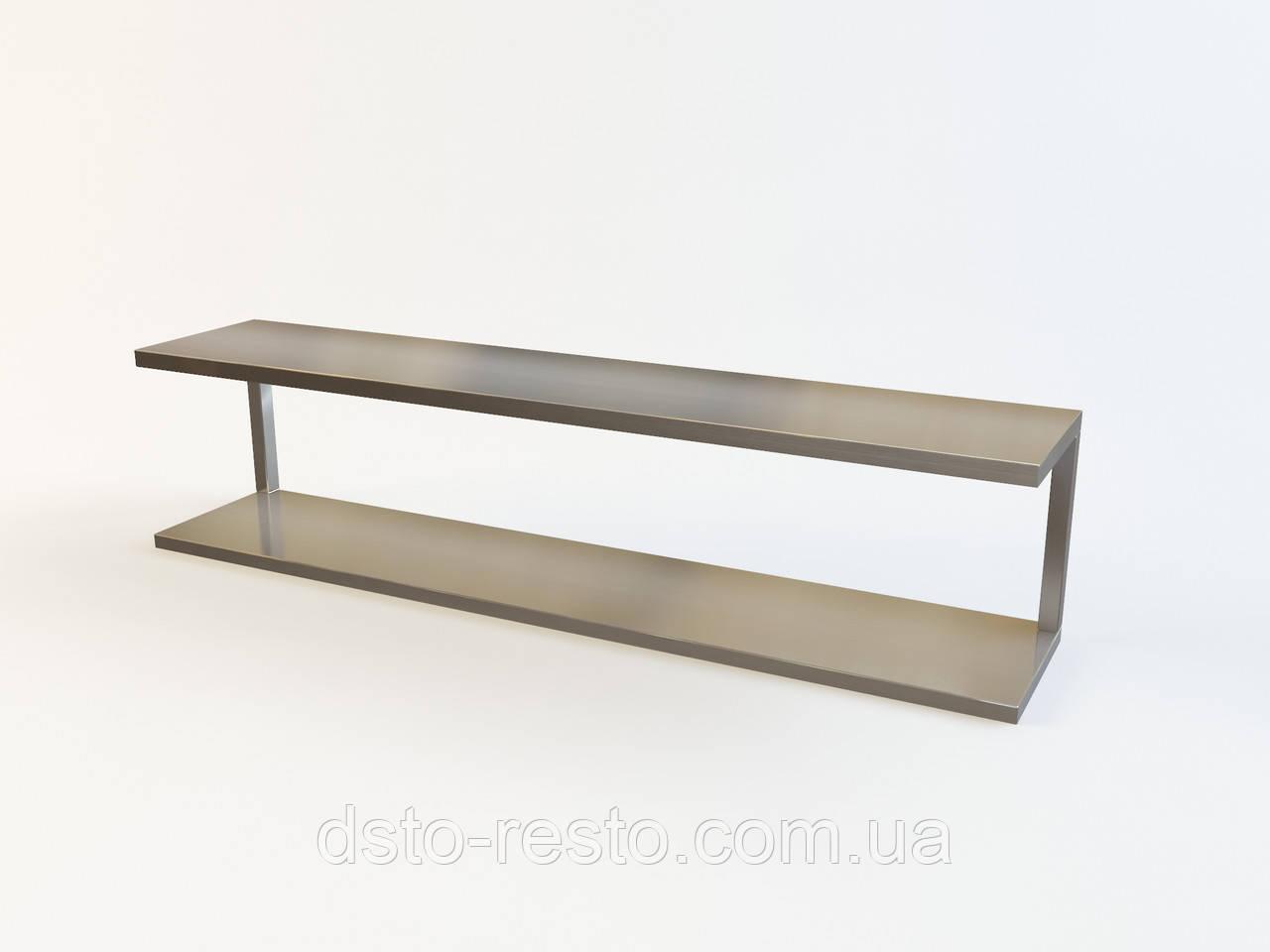 Навісна полиця з нержавіючої сталі, 2-х рівнева 1800/300/300 мм
