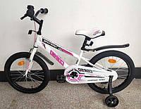 Детский велосипед, 18 дюймовые колеса, ручной тормоз, звоночек, доп. колеса, собран на 75%, Corso R-18362