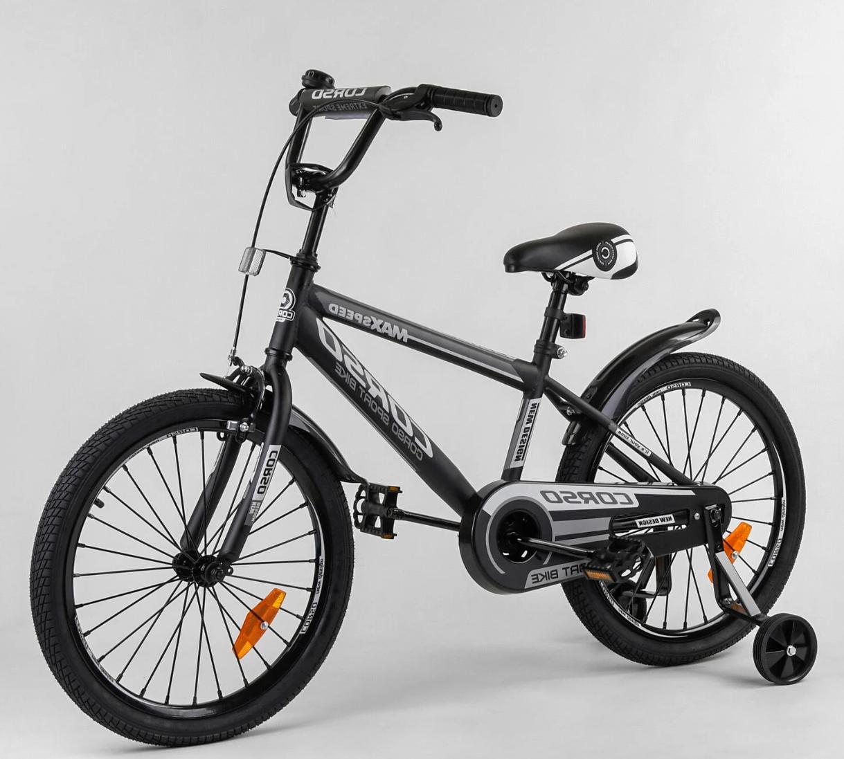 Дитячий велосипед, 20 дюймові колеса, сталеві диски з посиленою спицею, сталева рама, Corso ST-20363