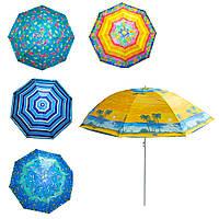 """Зонтик пляжный складной с защитой от UV-лучей Stenson 1.8 м принт """"Пальмы"""" (парасолька) (GIPS)"""