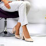 Женские туфли на широком квадратном каблуке серые бежевые черные, фото 5