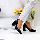Женские туфли на широком квадратном каблуке серые бежевые черные, фото 6