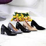 Женские туфли на широком квадратном каблуке серые бежевые черные, фото 8