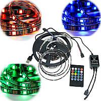 Світлодіодна стрічка з пультом rgb Led Strip 5050 на 5м. реагує на звук, | светодиодная лента (GIPS)