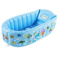 (GIPS), Дитяча надувна ванночка для купання Century spring з насосом, Блакитна ванночка для купання немовлят 90х55 см