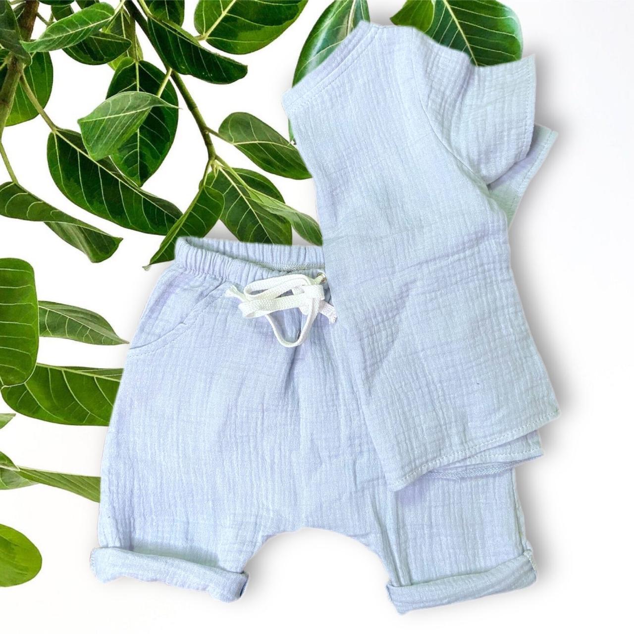 Набор муслиновый детский, шорты футболка, серо-голубой на 1-2 года (есть разные размеры)