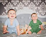 Набор муслиновый детский, шорты футболка, серо-голубой на 1-2 года (есть разные размеры), фото 3