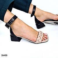 Жіночі босоніжки косичка на низькому каблуці з натуральної шкіри. Розміри 36-40, фото 1