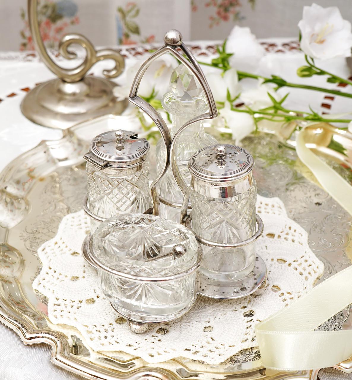Посеребренный набор для специй, винтажный английский круэт, солонка и перечница, серебрение, Англия, винтаж