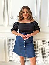 Женская летняя блуза из резинки коттон с коротким рукавом и открытыми плечами, фото 3