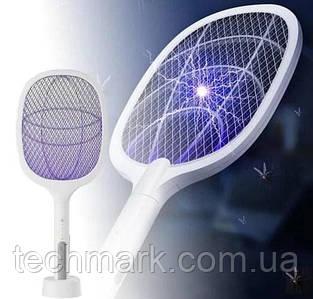 Электрическая аккумуляторная мухобойка ракетка + лампа-ловушка комаров. Electric mosquito Swatter 2в1 ТМ
