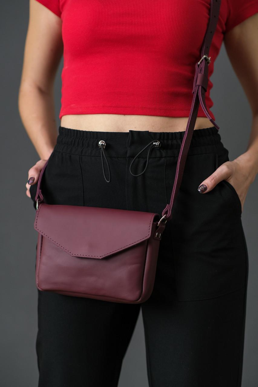 Жіноча шкіряна сумка Лілу, натуральна шкіра Grand, колір Бордо