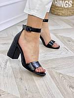 Женские чёрные босоножки на квадратном каблуке из натуральной кожи. Размеры 36-40, фото 1