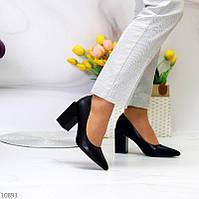 """Жіночі туфлі на стійкому каблуці Чорні """"Ground"""", фото 1"""