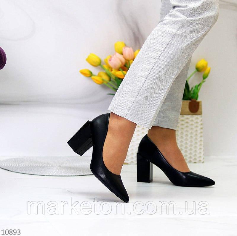 """Жіночі туфлі на стійкому каблуці Чорні """"Ground"""""""