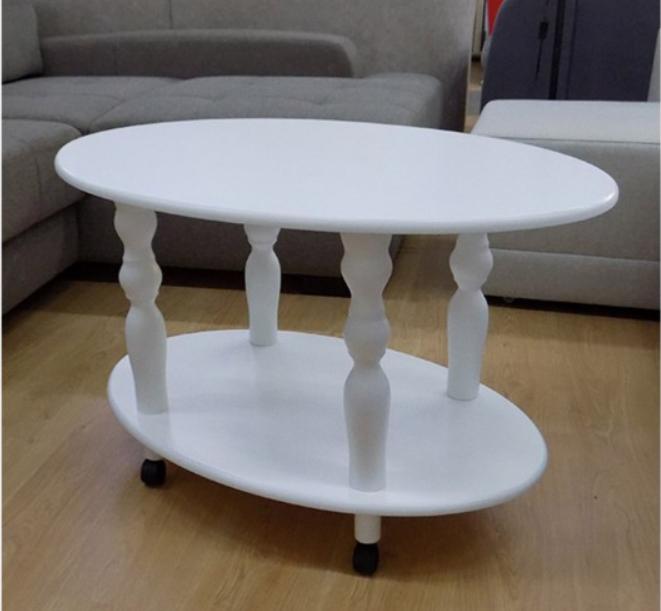 Классический журнальный столик на колесиках  -Прадо (белый)