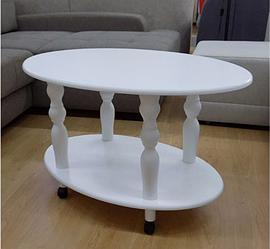 Класичний журнальний столик на коліщатках -Прадо (білий)