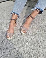 Жіночі шкіряні босоніжки з принтом з натуральної шкіри. Розміри 36-40, фото 1