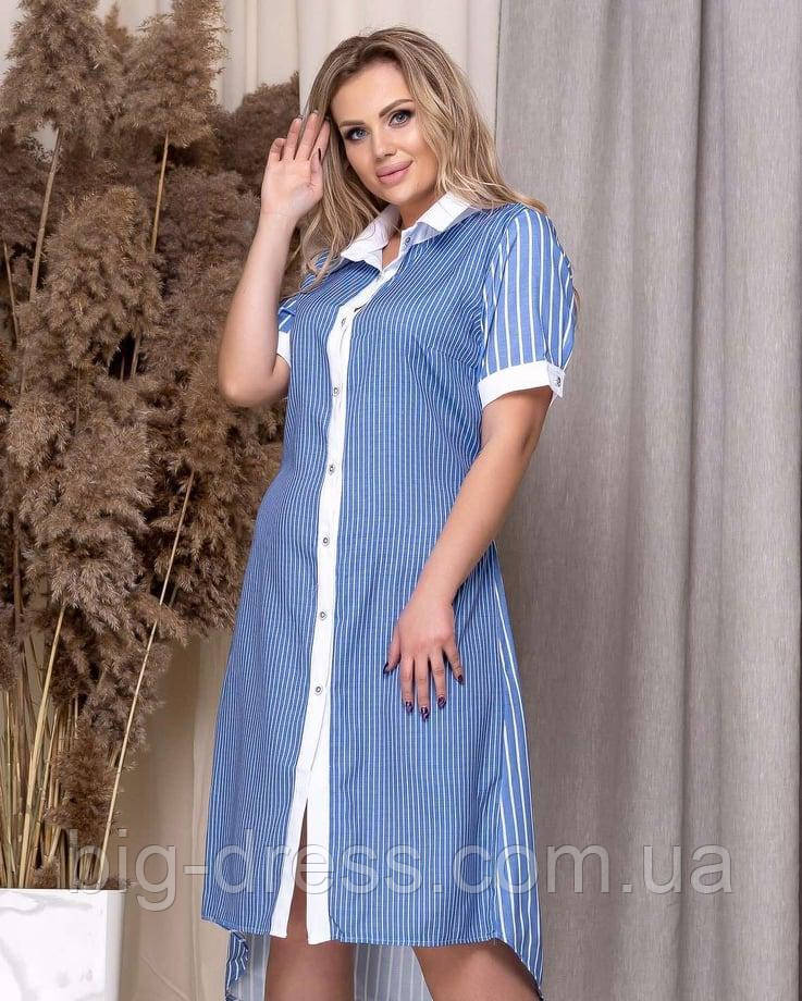 Легкое летнее платье-рубашка в полоску