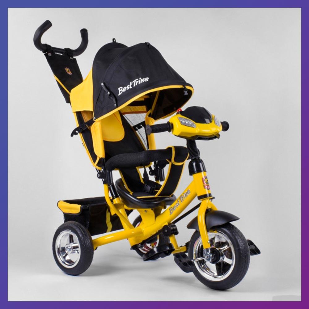 Дитячий триколісний велосипед - коляска Best Trike 6588 / 72-109 з батьківською ручкою жовто-чорний