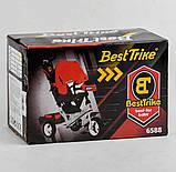 Дитячий триколісний велосипед - коляска Best Trike 6588 / 72-109 з батьківською ручкою жовто-чорний, фото 2