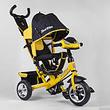 Дитячий триколісний велосипед - коляска Best Trike 6588 / 72-109 з батьківською ручкою жовто-чорний, фото 3