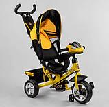 Дитячий триколісний велосипед - коляска Best Trike 6588 / 72-109 з батьківською ручкою жовто-чорний, фото 4