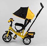 Дитячий триколісний велосипед - коляска Best Trike 6588 / 72-109 з батьківською ручкою жовто-чорний, фото 6