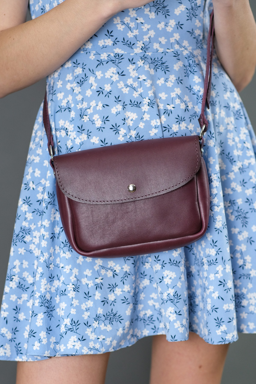 Жіноча шкіряна сумка Мія, натуральна шкіра італійський Краст, колір Бордо
