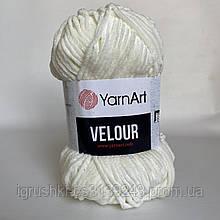 Велюрова пряжа YarnArt Velour 841 ( ЯрнАрт Велюр) Молочний