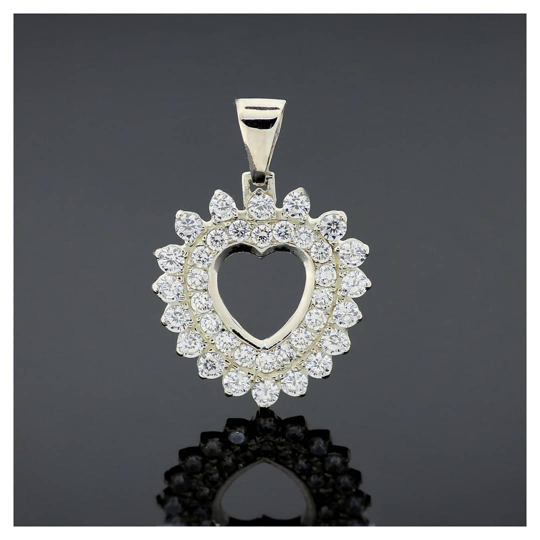 """Серебряный кулон подвеска """"Stone heart - Каменное сердце"""" с цирконием кубическим. Вес 5,08 гр."""