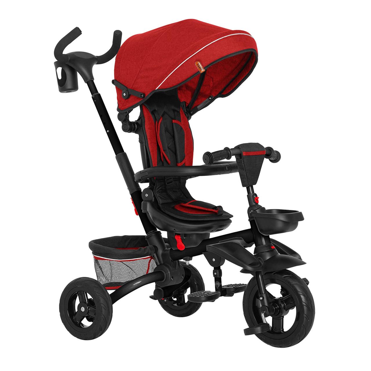 Детский трехколесный велосипед TILLY FLIP T-390 Красный с родительской ручкой, капюшоном и багажником