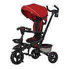 Детский трехколесный велосипед TILLY FLIP T-390 Красный с родительской ручкой, капюшоном и багажником, фото 2