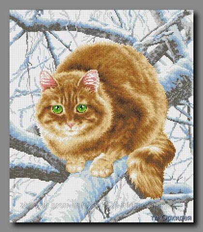 Схема вышивки кота на ветке