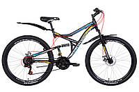 """Велосипед двухподвесной 27,5"""" Discovery Canyon AM DD 2021 рама 17 и 19"""" черно синий с красным"""