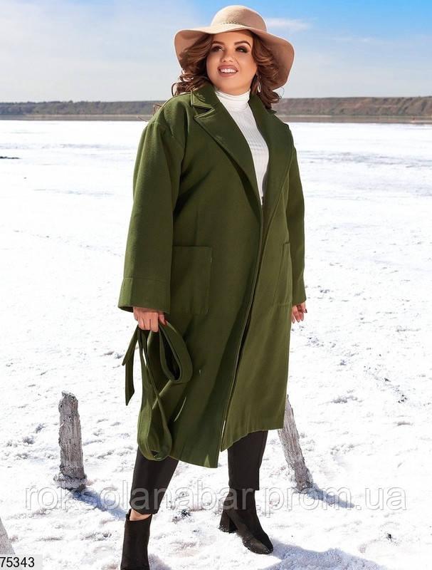 Пальто кашемировое женское цвета хаки