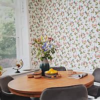 Обои метровые виниловые на флизелиновой основе Rasch Victoria цветы красные розовые листья птицы на белом, фото 1