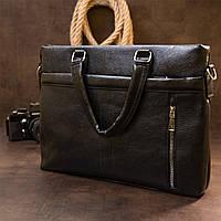Ділова сумка кожзам Vintage 20516 Чорна, фото 6