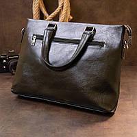 Ділова сумка кожзам Vintage 20516 Чорна, фото 7