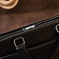 Ділова сумка кожзам Vintage 20516 Чорна, фото 9